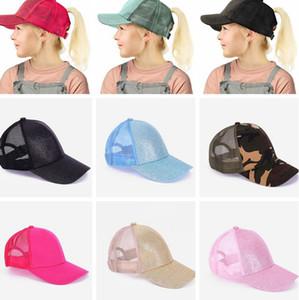 ÇOCUKLAR Glitter at kuyruğu Cap Dağınık Buns Trucker Beyzbol şapkası Snapback Casual Yaz açık şapka LJJK2354 Caps