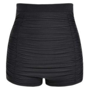 Solid Color Black Blue Women Plus Size High Waist Bikini Bottoms Swim Briefs Beach Shorts Ruched Bottom Pleated Bathing Suit
