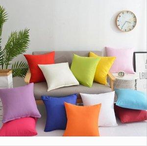 Home Sofa Throw Pillowcase Pure Color Polyester White Pillow Cover Cushion Cover Decor Pillow Case Blank christmas Decor Gift 45 * 45CM