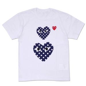 새로운 남성 디자이너 티셔츠 cdg Play Commes des Garcons 폴카 도트 더블 하트 티셔츠 티셔츠 남성 여성 티셔츠