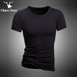 en's Clothing 2020 Summer T Shirt Solid Cotton High Quality Slim Casual New Brand Chase Deer White And Black Tracksuit Underwear T-Shirt ...