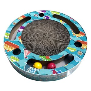 Cat Scratcher Corrugated Cardboard Pads Round Cat Scratching Board With Ball Toy Other Cat Supplies