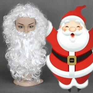 Envío gratisNew Hot Fashion Santa Claus y Barba Set White Wave Curly Christmas Cosplay pelucas sintéticas