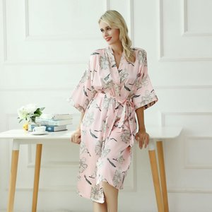 Summer New Sexy Women Satin Bridesmaid Wedding Robe Novedad Print Flower Night Dress Elegant Pink Half Sleeve Home Clothes