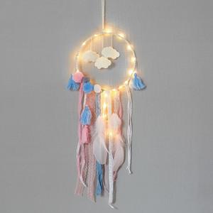 Nuvens Flaky Pena Dreamcatcher Partido Decorar Apanhador de Rede LED Dream Catcher Adolescente Presente Criativo Moda Colorido 19xr C1