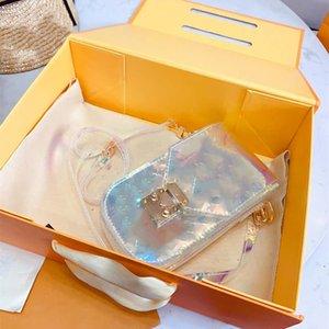 Laser Transparente luxo colorido Designer Handbag Mulheres Laser Shoulder Bolsa de PVC Bolsa Mobile Phone Bag Com Box