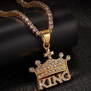 Mens Iced Out Crown King Pingente de Colar Banhado A Ouro 18 K Stainess Aço Rhinestone austríaco Bling Bling Hip Hop Jóias