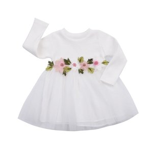 2017 New Brand 3Colors Lovely Toddler Infant Newborn Kids Baby Girls Wedding Party Pageant Prom Dresses Long Sleeve Flower Dress