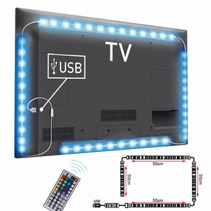 LED cabo DC5V USB tira lâmpada de luz SMD 5050 Background TV Lighting Kit Desktop Background Lâmpada para TV Computer Screen Display