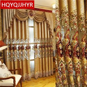 Europäische und amerikanische Art Royal Gold Luxus-Vorhänge für Wohnzimmer Fenstervorhang Schlafzimmer Fenster Vorhang Küche / Hotel T200323