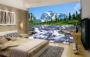 Cualquier personalizados murales 3D que fluye con telón de fondo de montaña de nieve Meseta paisaje papel pintado de la sala de TV Pared de lujo Decoración WallPapers