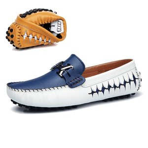 AGSan men loafers genuine leather casual shoes slip on mens boat shoes italian designer driving shoes moccasins blue black flats CX200622