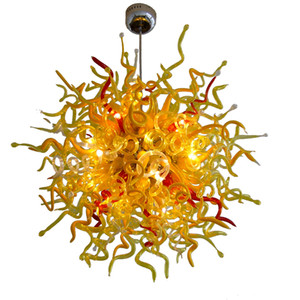 Modernes Gelb Lightings 36inch Durchmesser LED-Glasleuchter-Deckenleuchte Wohnzimmer Home Art Lampen Hand geblasenem Glas Kronleuchter