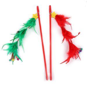 Cat Christmas Toys With Bells Pet Interactive Feather Teaser Plastic Tree Shape Cat Catcher Teaser Stick Christmas Pet Supplies