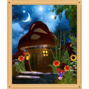 Mushroom House Night Полного Дрель DIY 5D Круглый Rhinestone вышивка Алмазной Картины Лошади вышивки крест наборы Mosaice Декоративных декораций