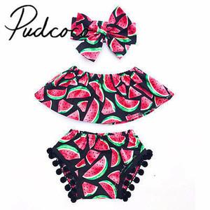 Pudcoco Beau nouveau-né Bébés filles pastèque imprimé Off-épaule T-shirt + Shorts + serre-tête 1-6years