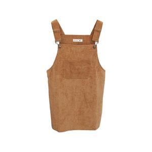 Autumn Women Vest Dress Spring Korea College Wind Restoring Ancient Ways Corduroy Suspenders Big Pocket Straight Dress