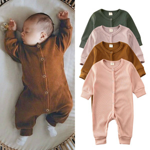 Kids Baby Girl Boy Autumn Clothes Solid Knitted Romper Overall Outfits Baby Clothing
