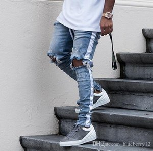 New Mens Hip Hop Ripped Jeans 2018 Destroyed Hole Skinny Biker Jeans White stripe stitching Zipper Decorated Black Light Blue Denim Pants
