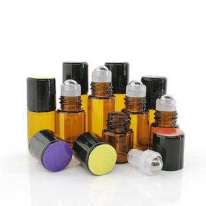 24pcs 1ml 2ml 3ml Amber Glass Roll On Bottles for Essential Oils doTERRA Empty Stainless Steel Roller Ball Bottle Lip Gloss