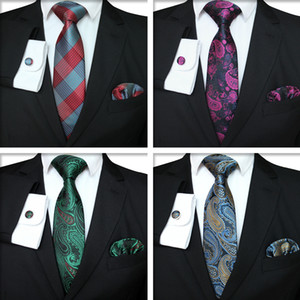 Plaid Series Tie Set Fashion Men Classic Silk Hanky Cufflinks Jacquard Woven Necktie Men Business Tie Set TTA-1116