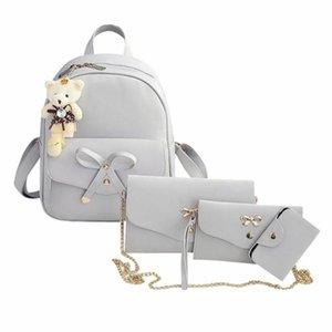 Ombro de couro mulheres Quatro Set Backpack Moda Bag For Teens quatro peças sacola Cadeia de Grande Capacidade de viagem Mochilas # F5