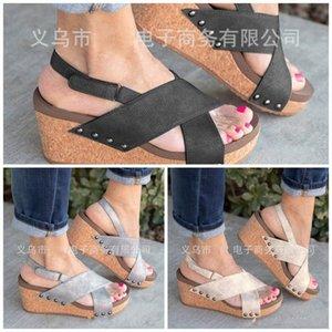 Bayanlar Yamaç Topuk Sandalet Balık Ağız Yüksek topuklu Terlik Kalın Dip Büyük Kod Shoes Karşıtı Aşınma Sıcak Satış 39ht I1