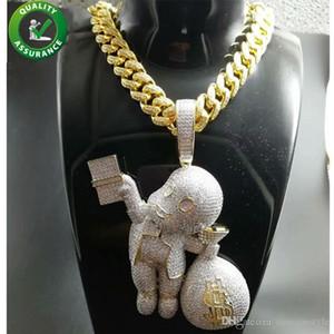 Charms collana d'oro degli uomini di Hip Hop fuori ghiacciato Pendente Bling monili delle catene di lusso progettista diamante Cuban link del fumetto Mario Sacco di soldi Rapper DJ