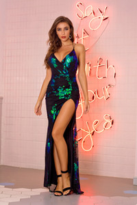 Paillettes de Split V-Neck Femmes Robes d'été Sexy Spaghetti Strap femmes robe imprimé floral Casual Laides Vêtements