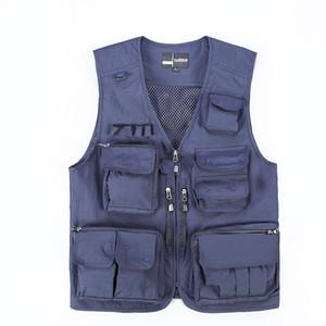 Multi Pocket Elettricista Studio Safari Style del panciotto della maglia traspirante removibile posteriore della maglia Navy Blue Hyweacvar maglia degli uomini di