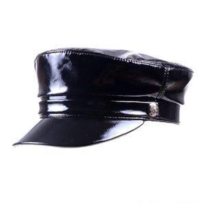 Para mujer para hombre reales las gorras sombreros, bufandas guantes de cuero de patente de cuero brillante Negro boina del vendedor de periódicos militry armynavy capshats