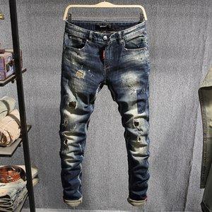 Мужские джинсы итальянские стиль моды мужские темно-синие тонкие разрушенные разорванные брюки хип-хоп высокого качества уличный дизайнер