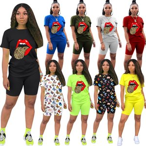 2020Hot sale Female designer fashion two women's maternity casual sports multi pattern suit popular creative clothing