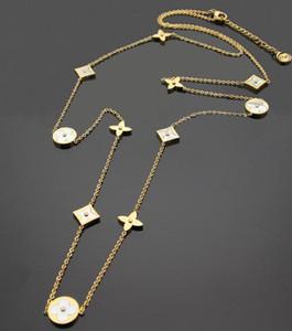 Европейские и американские модные аксессуары Титановая сталь L крест цветок круглый корпус цветок длинное ожерелье свитер цепи с хвостом