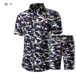 Mens Designer Printed Casual Mens Short Sleeve Shirt Set Multiple Suits Trendy College Style Hight Quality Fashion Frend Brand 2020 New