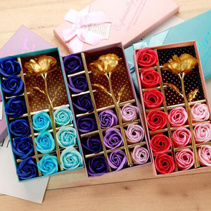 Gold Foil Artificial Decor Rose Gift 12 Pcs Soap Flower Mother's Day Gift Box Scented Bath Body Petal Flower Soap Flowers BH1276 TQQ