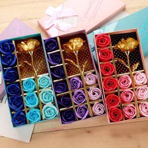 La hoja de oro artificial de la decoración del regalo de Rose 12 piezas de jabón de la flor de la madre Jabón de flor caja de regalo perfumado cuerpo del baño del pétalo Flores BH1276 TQQ