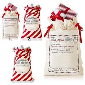 حقائب حار عيد الميلاد الأحمر مخطط كيس أكياس قماش سانتا كيس الرباط حقيبة قماش حقيبة كاندي زينة عيد الميلاد PartywareT2I5520