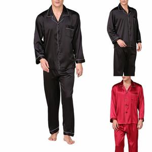 Shujin Erkekler Leke İpek Pajama Erkek Sleepwears Erkekler Seksi Yumuşak Homme Rahat Saten Gecelik Casual Lounge Pijama Gecelik