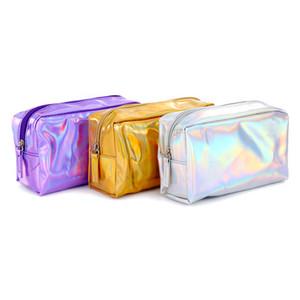2019 New Square Sac Cosmetic Sac Laser Holographe Holographique Sac de maquillage Beauty Case Coloré Travel Organisateur Sac de toilette DC343
