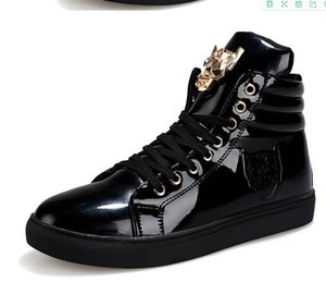 Hommes High Top Hommes d'or Glitter krasovki Sneakers bling plate-forme Flats Chaussures homme brillant vulcanisée tête Leopard Chaussures