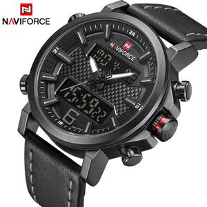 2019 Naviforce dos homens novos da moda relógio do esporte dos homens de couro à prova d 'água relógios de quartzo masculino data levou analógico relógio relogio masculino j190703