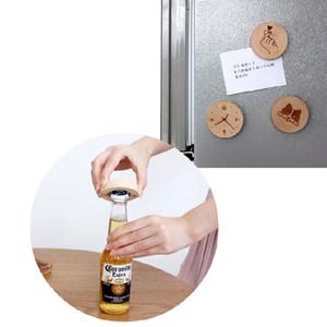 خشبية مستديرة الشكل زجاجة بيرة فتاحة كوستر مغناطيس الثلاجة ديكور زجاجة بيرة فتاحة
