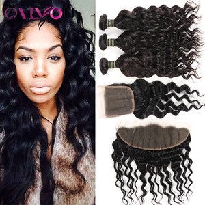Brazilian Water Wave Human Hair Bundles with Closure Indian Water Wave Virgin Hair Weaves with Frontal Peruvian Wholesale Price Deals