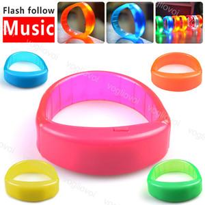 Novidade Iluminação LED Música Pulseira PS Voz PVC Activated Flashing Siga KTV partido Bar Natal Music For DHL