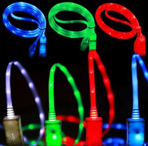 LED visível piscando Micro USB Charger Cable sincronização dos dados Tipo C Light Up Cabo para a Samsung S7 S6 S8 HTC borda