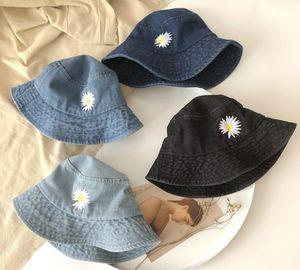 Summer Girls denim hats kids flower embroidered cap children fisherman hat boys girls big brim pot hats cowboy beach visor cap A2457