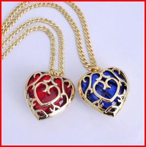 4 Modelle The Legend of Zelda blau roten Herz-Behälter Halskette Schlüsselanhänger Edelstein hohle Herz-Liebe Anhänger Tasche Schlüsselringe hängen