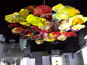 Plafond Lustre moderne Flower Big Flush Taille monté au plafond Lampe LED en verre de Murano Lustre Lampe d'intérieur Accueil Hôtel Light