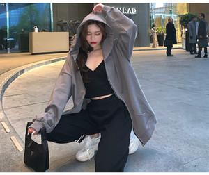 Musesbf slouchy Hoodie, lange Ärmel, lose frühen Herbst graue Jacke, Kordelzug, große Tasche, vielseitig Hoodie